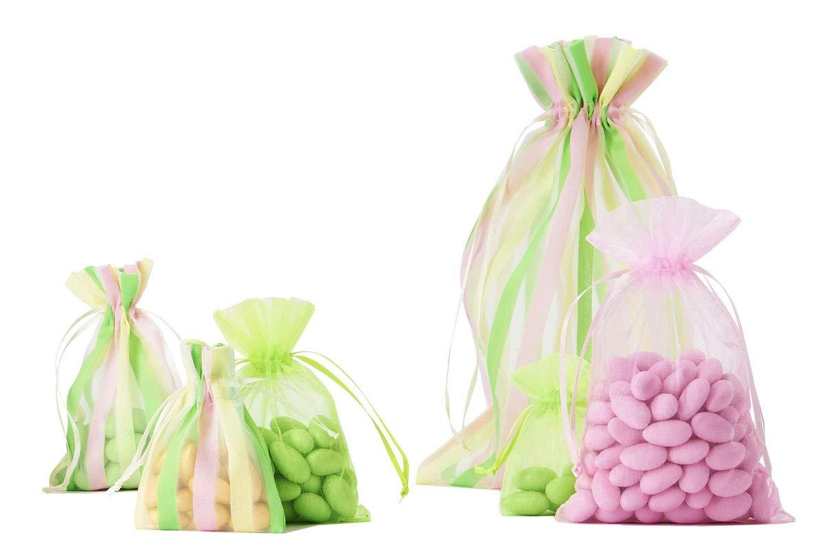 Dimensioni 20 x 12 cm 30 Sacchetti in Organza Altezza x Larghezza e Nastro di Raso Giallo, Verde e Rosa con Strisce satinate