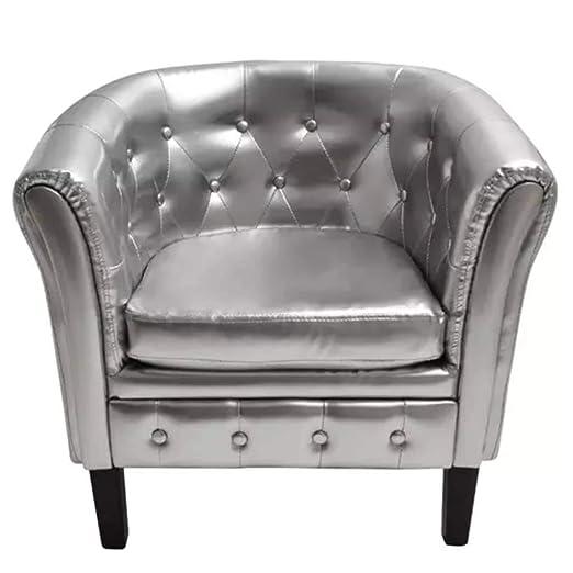 Xinglieu sillón Cabriolet de Piel Artificial Plata sillón de ...
