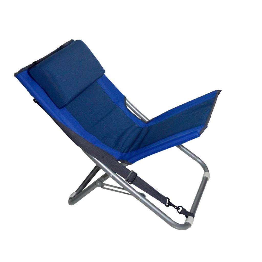 HYXI-Klappstuhl Tragbare Klappstuhl, Schultergurt Design, Wanderer Strand Angeln Camping Skizze Freizeit Sitz/Blau / mit Kopfstütze/Maximale Last 90KG