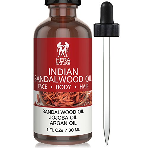 Best INDIAN SANDALWOOD ESSENTIAL OIL in Jojoba & Argan Oil, 100% Pure and Natural, powerful anti-aging, moisturize and hydrate skin,hair & beard. Therapeutic Grade, 30ml (1oz)