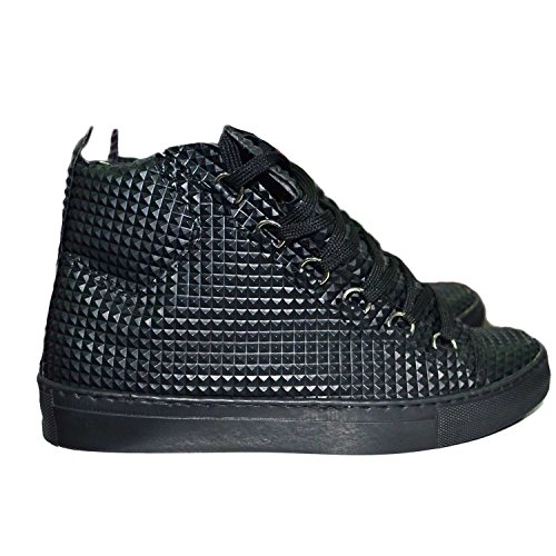 Sneakers alta uomo balen in vera pelle piramide nero made in italy glamour
