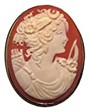 Goddess Diana Cameo Broach Pendant Master Carved, Shell Sterling Silver 18k Gold Overlay Italian