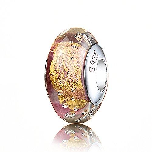 (ATHENAIE Genuine Murano Glass 925 Silver Core Gold Foil Charm Bead Fit European Bracelets for Girls )