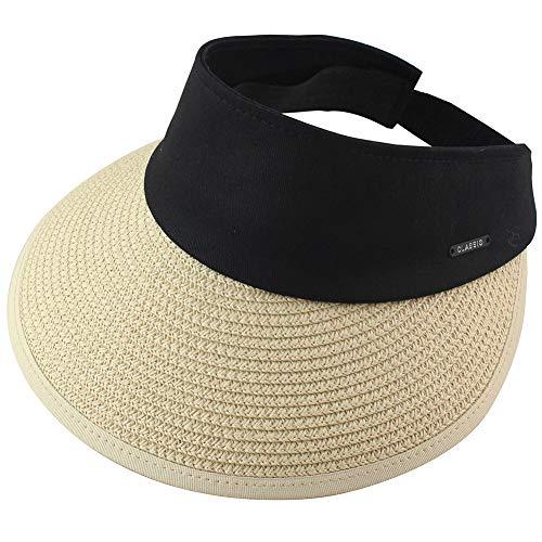 Womens Straw Sun Visor Hat Roll Up Wide Brim UV Protective ()