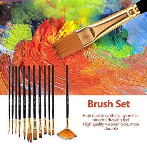 xuuyuu 12個 ペイント ブラシ 油絵筆 水彩筆 画筆 ペイントブラシセット 画材筆 ナイロン毛 油絵用筆 油彩画 テンペ