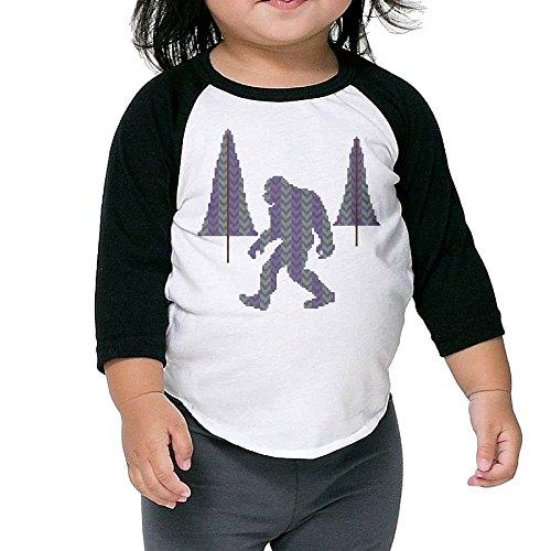 Sasquatch Bust (Geometric Sasquatch Bigfoot 3/4 Sleeves Raglan Toddler Children Kids Custom Round Collar T Shirts Tee Unisex)