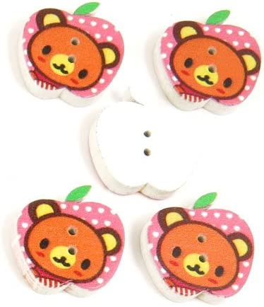 200 Pieces Sewing Sew On Buttons BT20222 Bear Apple Shape Wooden Wood Arts Crafts Notions Supplies Fasteners