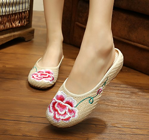XHX Peonía zapatos bordados, lenguado de tendón, estilo étnico, flip flop femenino, moda, cómodo, sandalias beige..
