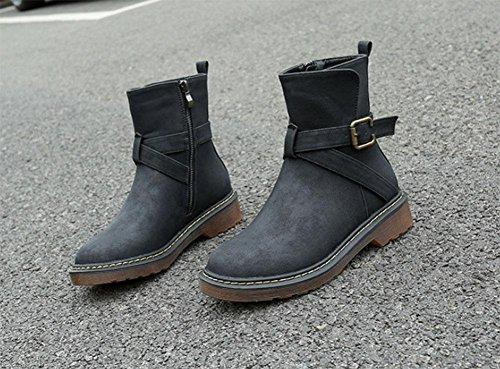 Mujer De Botas Zapatos Casual Áspero Gran Hebilla Salvaje Algodón Botas 001 Cinturón Moda Cálido Martin Con Tamaño Meili qSEwAA