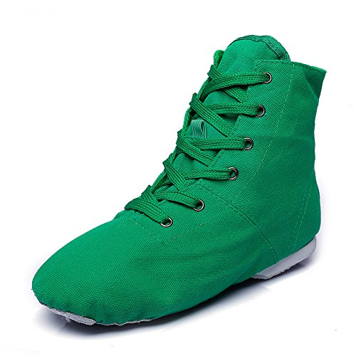 (Canvas Women's Lace-up Jazz Dance Boots Green,5 M US)