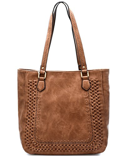 (Madison West Large Zip-Top Tote w/Braided Accents- Taupe)