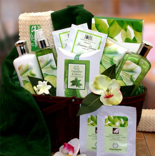 Green Tea Spa Gift (All Natural Cucumber & Melon Calming Spa Bath & Body Gift Basket)