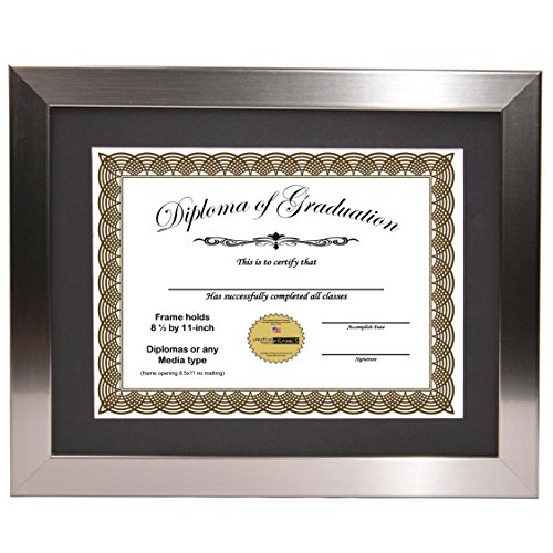 CreativePF [11x14ss-b] Stainless Steel Finish Diploma Frame with 11x14-inch Black Mat to Hold 8.5 by 11-inch Graduation Documents w/ Stand and Wall Hanger