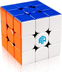 D-FantiX Gan 356 R 3x3 Speed Cube Stickerless Gans 356R 3x3x3 Magic Cube Puzzle GES V3 System Extra Bonus Blue Pouch
