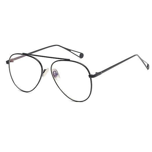 d60629b9da D.King Mens Metal Wire Frame Aviator Clear Lens Glasses Non-Prescription  Eyewear Black