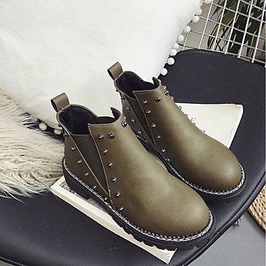 Booties Green Boots RTRY Women'S US6 Casual For Fashion Heel Pu Fall UK4 Boots EU36 Toe Round Boots Gore Chunky CN36 Comfort Ankle Army Shoes Black dHYrq7wH