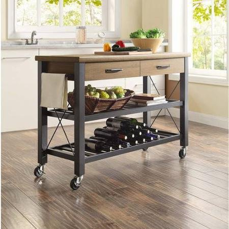 Generic Whalen Santa Fe Kitchen Multi-functional Cart with Metal Shelves with Wine Rack, Rustic Brown