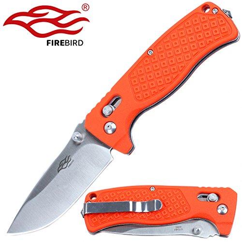 Firebird Knife F724M Pocket Folding Hunting Knife G-10 Handle SS Blade (Orange)