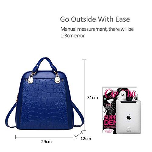 NICOLE&DORIS mochila bandolera señoras / las mujeres de doble bolsa de viaje de la universidad del viento de la moda para los estudiantes(Black and White) Azul