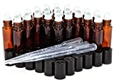 24, Amber, 10 ml Glass Roll On Bottles with 3-3 ml Dropper's