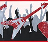 Red White Guitars People Dancing Black Grey White Wallpaper Border for Teens, Roll 15' x 9''