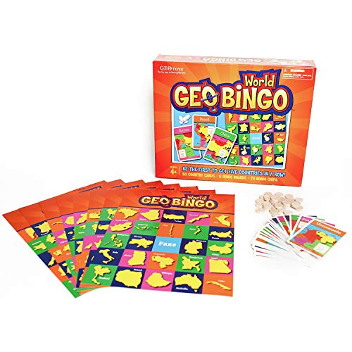 GeoToys - GeoBingo World - Board Games for Kids - Geography Bingo Game Learning Resources and Educational Toys - Kid Toys for Ages 4 and Up (Flags Of The World Game For Kids)