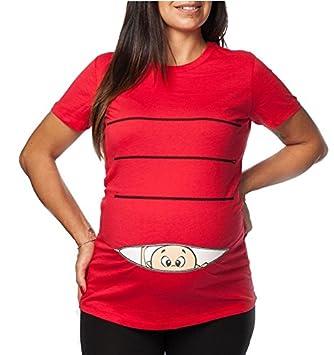 T-Shirteria - Camiseta larga de mujer, ideal para embarazadas. Estampado divertido rojo
