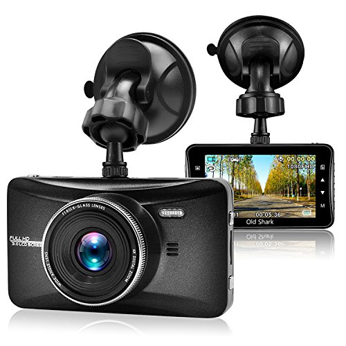 "Old Shark Dash Cam, 3"" 1080P HD Car Recorder 170 Wide Angle Night Vison Dashboard Camera with G-Sensor, Loop Recording, WDR, Parking Guard"