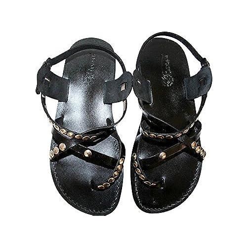 0053bea8e Black Studded Triple Leather Sandals For Men   Women - Handmade Unisex  Sandals