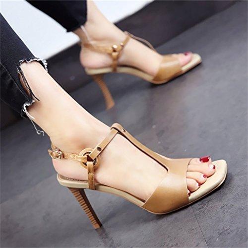 ALUK- Europa y los Estados Unidos - el otoño expuesto dedo del pie zapatos de tacón fino fino con una hebilla fina sandalias zapatos ( Color : Khaki , Tamaño : 35-Shoes long225mm ) Khaki