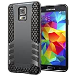 Hyperion Titan 2-piece Premium Hybrid Protective Cases for Samsung Galaxy S5 / SV Cell Phone (Fits Standard Size Battery for all US and International Models) - BLACK