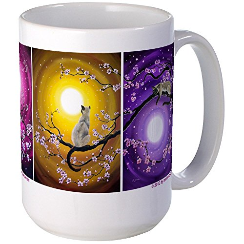 CafePress - Zen Cats In Cherry Blossoms - Coffee Mug, Large 15 oz. White Coffee Cup