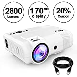 "DR. J Professional 2800 Brightness Home Theater Mini Projector Max. 170"" Display, Full HD LED Projector 1080P/HDMI/VGA/USB/TF/AV/Sound Bar/ Video Games/TV 1080P Support (White)"