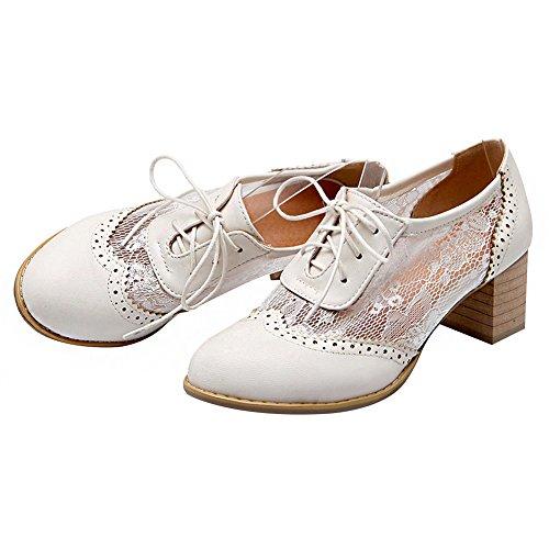 Brogue Talón PU Verano Blanco de Zapatos amp;Encaje Mujer Bloque Zapatos Oxfords Superior Respirable Vestido Elegante Jamron qzF7tw7
