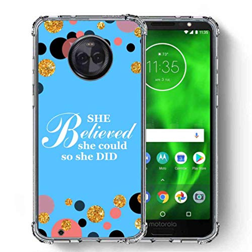 for Motorola Moto G6 Case, Moto G (6th Generation) Case, SuperbBeast Ultra Slim Thin Protective Case w/Reinforced Corners Vector Floral Flowers Polka Dots [Glitter Pattern] ()