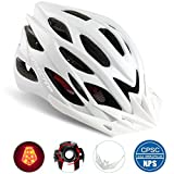 Cheap Basecamp Specialized Bike Helmet with Safety Light,Adjustable Sport Cycling Helmet Bicycle Helmets for Road & Mountain Motorcycle for Men & Women,Youth Safety Protection (White with Big Light)
