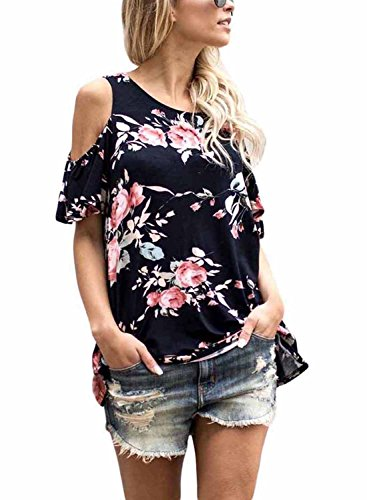Annflat Women's Summer Cut Out Shoulder Flower Print Ruffled Sleeves Loose Blouse and Tops X-Large Black