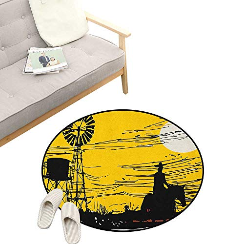 Windmill Non-Slip Round Rug ,Australian Outback Inspired Artwork Cowboy on Horse at Sunset, Washable Living Room Bedroom Kids 31