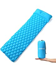 ENKEEO Isomatte Ultraleicht Camping Luftmatratze Aufblasbare Schlafmatte wasserdicht mit Kissen 190 x 58 x 6 cm aus 40D TPU Nylon für Camping, Trekking, Zelt und Outdoor, Hellblau