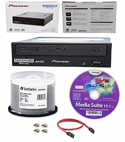 Pioneer 16x BDR-211UBK Internal Ultra HD Blu-ray BDXL Burner, Cyberlink Software and Cable Accessories Bundle with 50pk BD-R Verbatim 25GB 6X DataLifePlus White Inkjet, Hub Printable by Produplicator (Image #1)