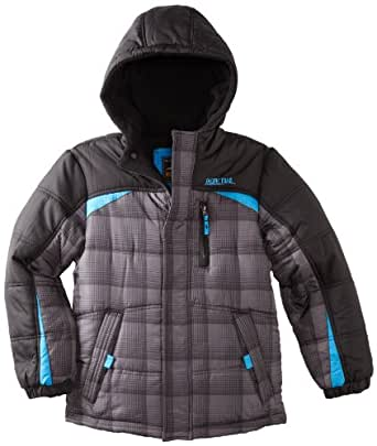 Pacific Trail Big Boys' Colorblocked Plaid Puffer Jacket, Charcoal, 8