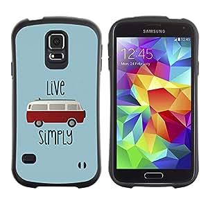 LASTONE PHONE CASE / Suave Silicona Caso Carcasa de Caucho Funda para Samsung Galaxy S5 SM-G900 / Bus Quote Hipster Hippie Van