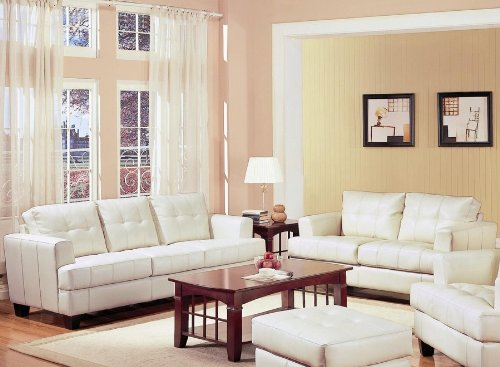 Loveseat Wooden Contemporary White Leather
