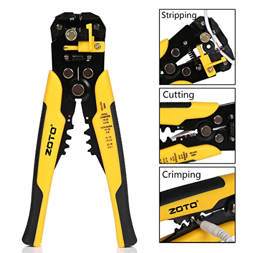 Cable Wire Crimper Tool (Wire Stripper,ZOTO Self-adjusting Cable Cutter Crimper,Automatic Wire Stripping Tool/Cutting Pliers Tool for Industry)