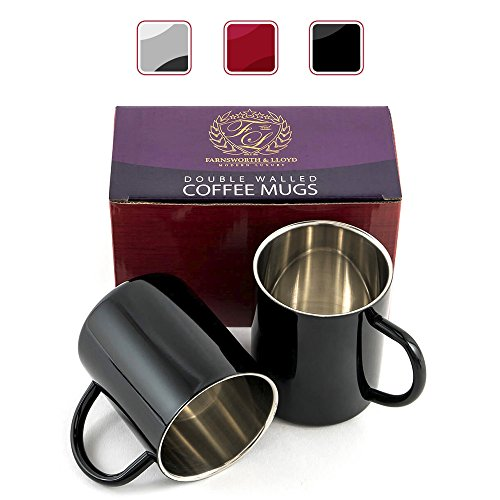 Stainless Steel Double Wall Coffee Cups/Coffee Mugs, Set Of 2 (Black)