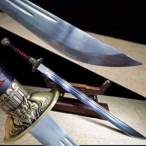 (Handmade Chinese Kungfu Broadsword Sword Wushu Da Dao Strong High Manganese Steel Blade Sharp Outdoors Fighting Broad Knife Swords)