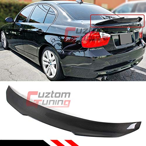 Cuztom Tuning Fits for 2006-2011 BMW E90 3 Series M3 4 Door Sedan PS Style Highkick Duckbill Carbon Fiber Trunk Spoiler Wing