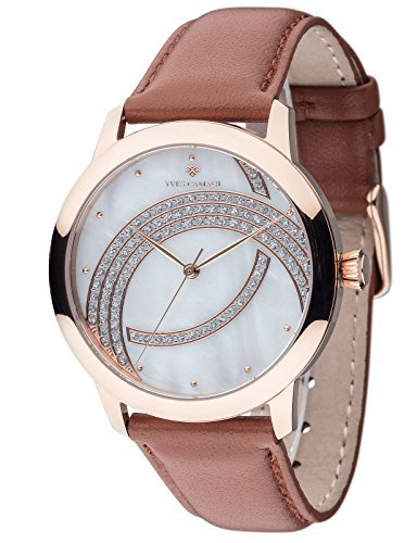 Yves Camani Arcenciel Women's Wrist Watch Quartz Analog Dial Mother Of Pearl Rosegold Stainless Steel Casing & Brown Leather Strap