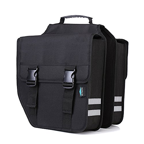 Bike Rear Seat Trunk Bag, TRAVELLOR Multi functional Bicycle Pannier with Rainproof Cover, 3M Reflective Trim and Shoulder Straps Also as Shoulder Bag or Handbag Black