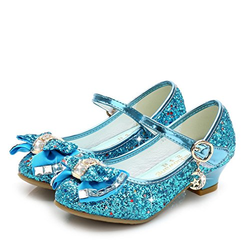 Iris Princess (La Vogue Kids Girls Mary Jane Glitter High Heels Princess Dress Shoes Blue 1.5M)